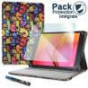 Pack Étui Motif LM21 + Verre Flexible + Stylet pour Archos Access 101 Wifi 10,1 pouces