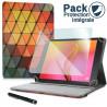 Pack Étui Motif LM22 + Verre Flexible + Stylet pour Archos Access 101 Wifi 10,1 pouces