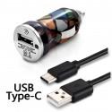 Chargeur Voiture Allume-Cigare Motif CV02 Câble USB Type C pour Samsung Galaxy A51
