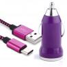 Chargeur Voiture Câble USB Type C Violet pour Samsung Galaxy S9 / S9+