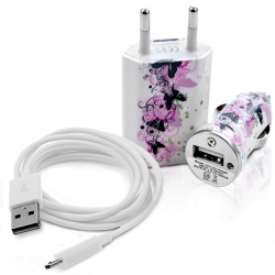 Chargeur Secteur Voiture Câble USB Type C motif HF25 pour Huawei Mate 8