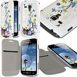 Etui à rabat latéral et porte-carte pour Samsung Galaxy S Duos avec motif HF01 + Film de Protection