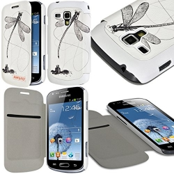 Etui à rabat latéral et porte-carte pour Samsung Galaxy S Duos avec motif LM01 + Film de Protection