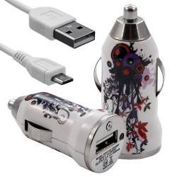 Chargeur voiture allume cigare USB avec câble data avec motif HF12 pour Sony : Xperia J / Xperia P / Xperia S / Xperia T / Xper