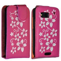 Housse coque étui fleur rose fushia pour Motorola Defy + film protecteur