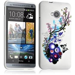 Housse Etui Coque Semi Rigide pour HTC One M7 avec motif HF01 + Film de Protection