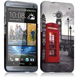 Housse Etui Coque Semi Rigide pour HTC One M7 avec motif KJ03B + Film de Protection