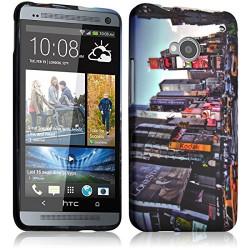 Housse Etui Coque Semi Rigide pour HTC One M7 avec motif KJ26B + Film de Protection