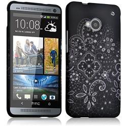 Housse Etui Coque Semi Rigide pour HTC One M7 avec motif LM11 + Film de Protection