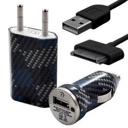 Mini Chargeur 3en1 Auto et Secteur USB avec câble data avec motif CV04 pour Apple : iPod 2 / iPod 4G / iPod 5G / iPod Photo / i