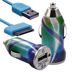 Chargeur voiture allume cigare USB avec câble data avec motif CV03 pour Apple : iPod 2 / iPod 4G / iPod 5G / iPod Photo / iPod
