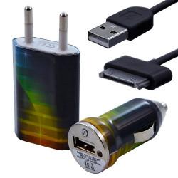 Mini Chargeur 3en1 Auto et Secteur USB avec câble data avec motif CV06 pour Apple : iPod 2 / iPod 4G / iPod 5G / iPod Photo / i