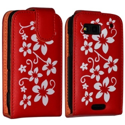 Housse coque étui fleur rouge pour Motorola Defy + film protecteur