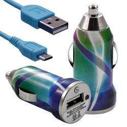 Chargeur voiture allume cigare USB avec câble data avec motif CV03 pour Sony : Xperia J / Xperia P / Xperia S / Xperia T / Xper