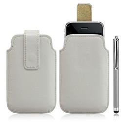 Housse coque étui pochette blanc pour Apple Iphone 3G/3GS + Stylet