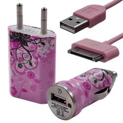 Mini Chargeur 3en1 Auto et Secteur USB avec câble data avec motif HF17 pour Apple : iPod 2 / iPod 4G / iPod 5G / iPod Photo / i