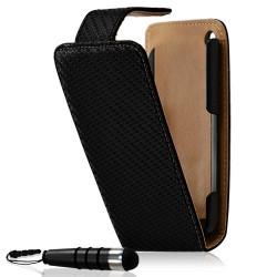 Housse coque étui gaufré pour Apple iphone 3G / 3GS couleur noir + Mini stylet + Film protecteur