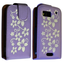 Housse coque étui fleur violet pour Motorola Defy + film protecteur