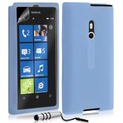 Etui coque en silicone pour Nokia Lumia 800 couleur bleu transparent + Mini Stylet + film