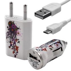 Mini Chargeur 3en1 Auto et Secteur USB avec câble data avec motif HF12 pour Sony : Xperia J / Xperia P / Xperia S / Xperia T /