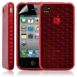 Housse coque étui gel bulle transparent pour Apple Iphone 4/4S couleur rouge + Film protecteur