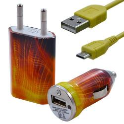 Mini Chargeur 3en1 Auto et Secteur USB avec câble data avec motif CV05 pour Sony : Xperia J / Xperia P / Xperia S / Xperia T /