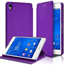 Etui à rabat latéral Support Couleur Violet pour Sony Xperia Z3 + Film de protection