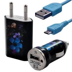 Mini Chargeur 3en1 Auto et Secteur USB avec câble data avec motif HF16 pour Sony : Xperia J / Xperia P / Xperia S / Xperia T /