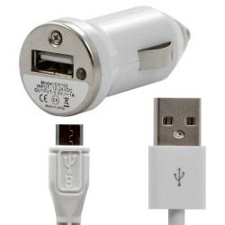 Chargeur voiture allume cigare USB + Cable data couleur blanc pour Nokia : E7-00 / E72 / Lumia 710 / Lumia 800 / N85 / N86 8MP /