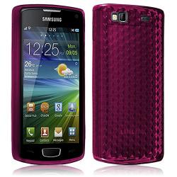 Housse Etui Coque Gel Translucide Diamant pour Samsung Wave 3 Rose Fushia