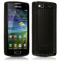 Housse Etui Coque Gel Translucide Diamant pour Samsung Wave 3 Noir