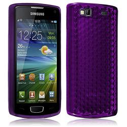 Housse Etui Coque Gel Translucide Diamant pour Samsung Wave 3 Violet