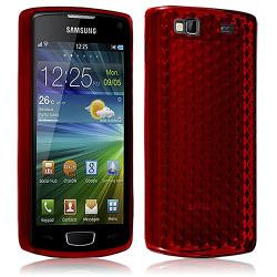 Housse Etui Coque Gel Translucide Diamant pour Samsung Wave 3 Rouge