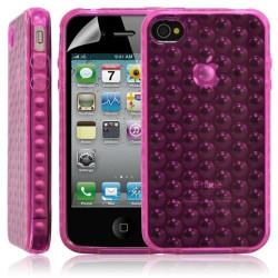 Housse coque étui gel bulle transparent pour Apple Iphone 4/4S couleur rose + Film protecteur