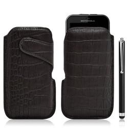 Housse coque étui pochette style croco pour Motorola Defy + Stylet