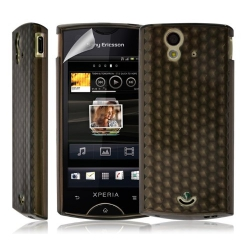 Coque étui housse en Gel pour Sony Ericsson Xperia Ray couleur noir transparent + film écran
