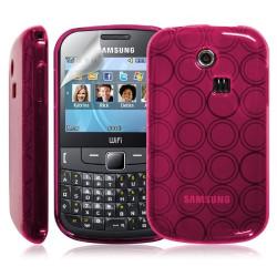 Coque étui housse en gel rose pour Samsung Chat 335 S3350 + film de protection