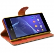 Etui Portefeuille mode Support Style Diamant Orange pour Sony Xperia M2