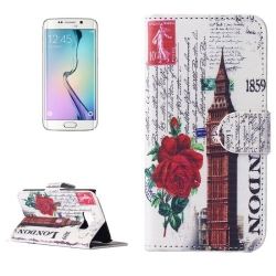 Etui Portefeuille de Protection et Support Motif pour Samsung Galaxy S6 Edge