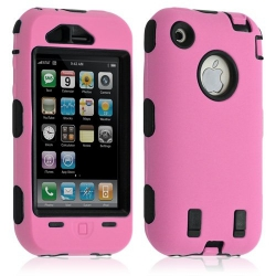 coque pour Apple Iphone 3G / 3GS couleur rose + Film de protection