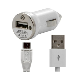 Chargeur voiture allume cigare USB avec câble data pour Wiko Stairway Couleur Blanc