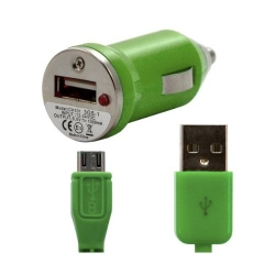 Chargeur voiture allume cigare USB avec câble data pour Wiko Stairway Couleur Vert
