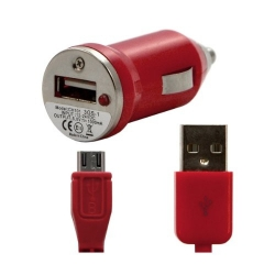 Chargeur voiture allume cigare USB avec câble data pour Wiko Stairway Couleur Rouge