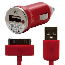 Chargeur voiture allume cigare USB + Cable data couleur rouge pour Apple : iPhone / iPhone 3G / iPhone 3GS / iPhone 4 / iPhone 4