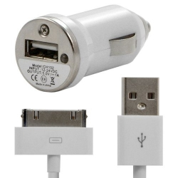 Chargeur voiture allume cigare USB + Cable data couleur blanc pour Apple : iPhone / iPhone 3G / iPhone 3GS / iPhone 4 / iPhone 4