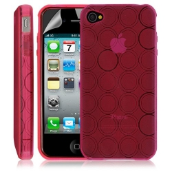 Housse coque etui gel rond transparent pour Apple Iphone 4/4S couleur rose + Film protection